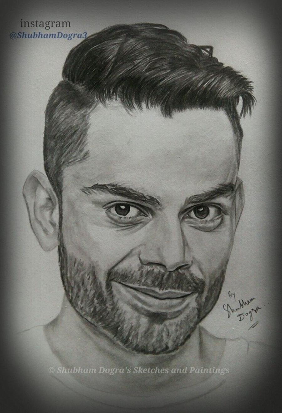 Pencil sketch of virat kohli
